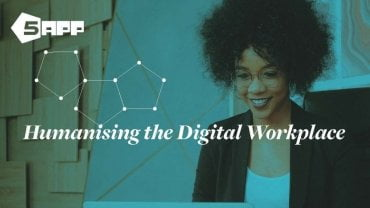 Humanising the digital workplace - woman working on a laptop