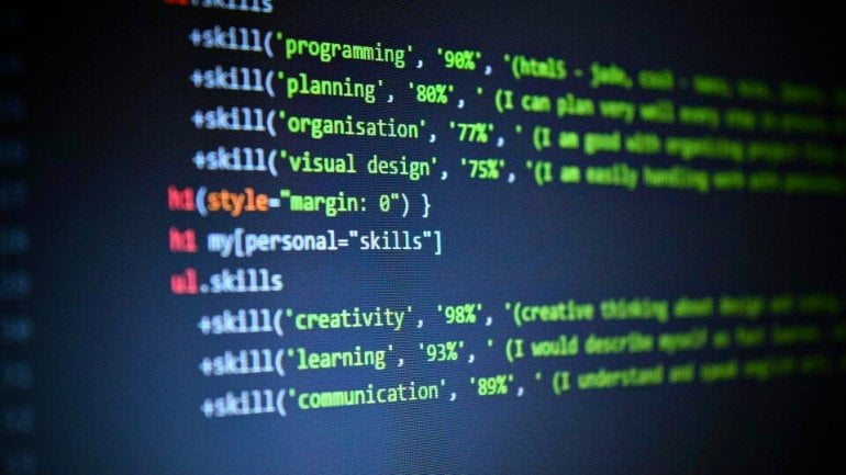 Bridging the digital talent gap - photo of coding screen