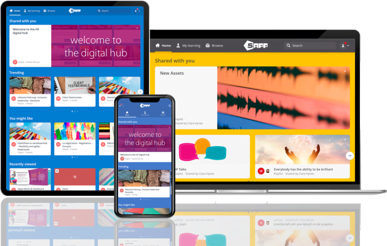 Screen shot of the 5App learning platform across different devices