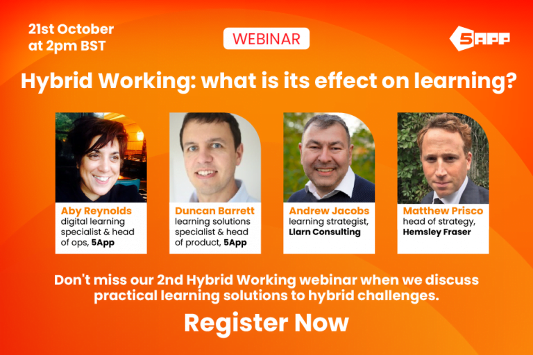 Webinar graphic - Hybrid Working - what is its effect on learning